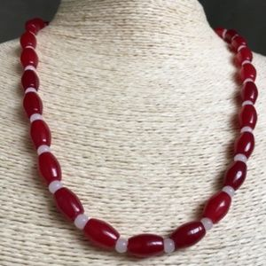 """8x12mm Natural Red Jade Rice Necklace 19 """"AAA"""
